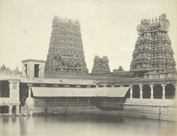 North-west view of Pottamarai Tank, Minakshi Amman Temple [Minakshi Sundareshvara Temple], Madura.